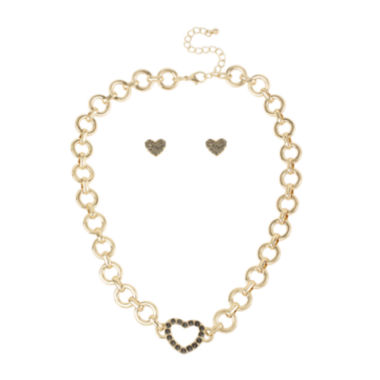 jcpenney.com | Worthington® Gold-Tone Pavé Crystal Heart Necklace and Earring Set