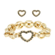 Worthington® Gold-Tone Pavé Crystal Bracelet and Earring Set