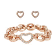 Worthington® Rose-Tone Pavé Crystal Bracelet and Earring Set