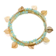 Delicates by PALOMA & ELLIE Set of 3 Gold-Tone Leaf Bead Stretch Bracelets