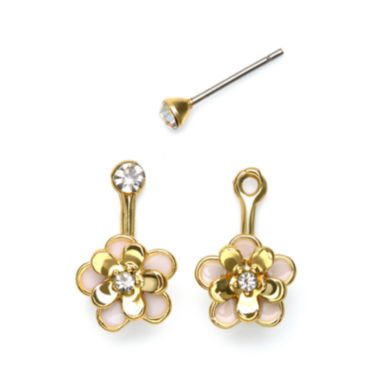 jcpenney.com | Mixit™ Gold-Tone Pink Flower Front-to-Back Earrings