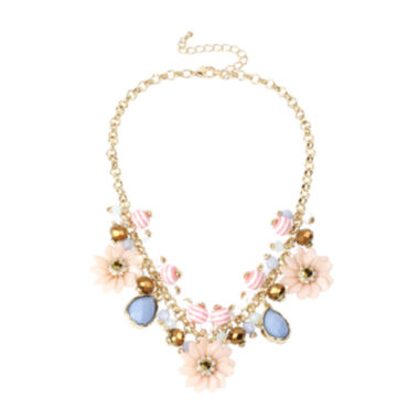 jcpenney.com | Mixit™ Gold-Tone Pastel Flower Bead Frontal Necklace