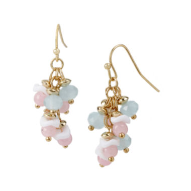jcpenney.com | Mixit™ Gold-Tone Pastel Bead Cluster Drop Earrings