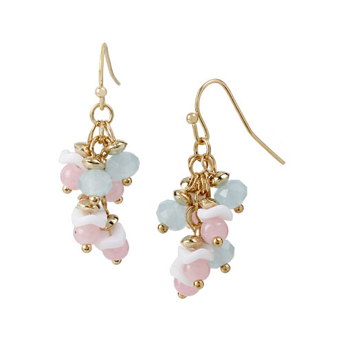 Mixit™ Gold-Tone Pastel Bead Cluster Drop Earrings