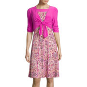 Perceptions 3/4-Sleeve Paisley Print Tie-Front Jacket Dress