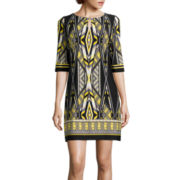 Studio 1® Elbow-Sleeve Geometric Print Shift Dress