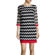 Studio 1® 3/4-Sleeve Print Shift Dress