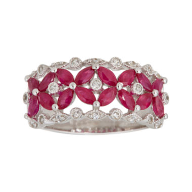 jcpenney.com | LIMITED QUANTITIES  Lead Glass-Filled Ruby and Genuine White Sapphire Ring