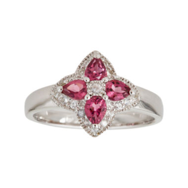 jcpenney.com | LIMITED QUANTITIES  Genuine Pink Tourmaline Sterling Silver Flower Ring