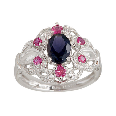 LIMITED QUANTITIES  Genuine Iolite and Lead Glass-Filled Ruby Ring