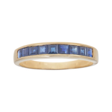 jcpenney.com | LIMITED QUANTITIES  Genuine Blue Sapphire Channel-Set 10K Yellow Gold Band