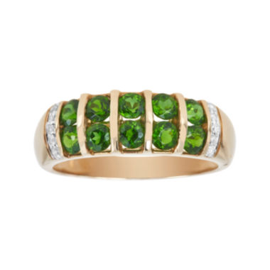 jcpenney.com | LIMITED QUANTITIES  Genuine Chrome Diopside and Diamond-Accent Yellow Gold Band