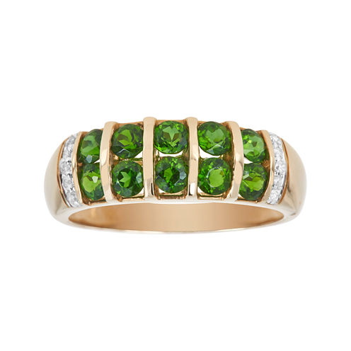 LIMITED QUANTITIES  Genuine Chrome Diopside and Diamond-Accent Yellow Gold Band