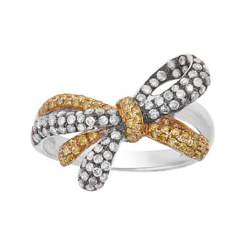 LIMITED QUANTITIES  7/8 CT. T.W. White and Color-Enhanced Yellow Diamond Bow Ring