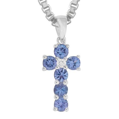 LIMITED QUANTITIES  Genuine Tanzanite and Diamond-Accent Cross Pendant Necklace