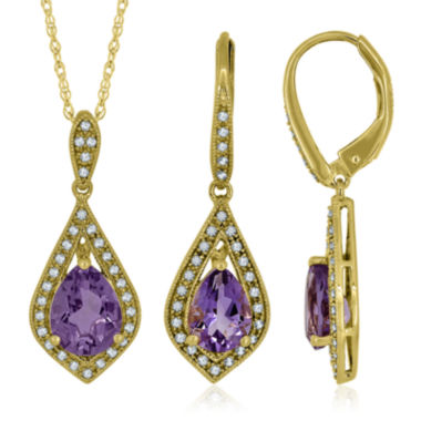 jcpenney.com | Genuine Amethyst and Lab-Created Sapphire 14K Yellow Gold Pendant or Earrings