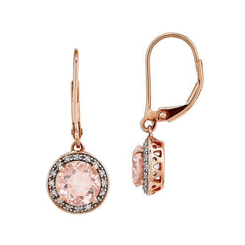 Genuine Morganite and 1/8 CT. T.W. Diamond 14K Rose Gold Drop Earrings