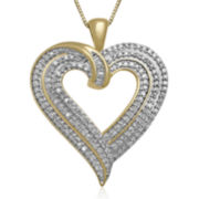 1/2 CT. T.W. Diamond 10K Yellow Gold Heart Pendant Necklace