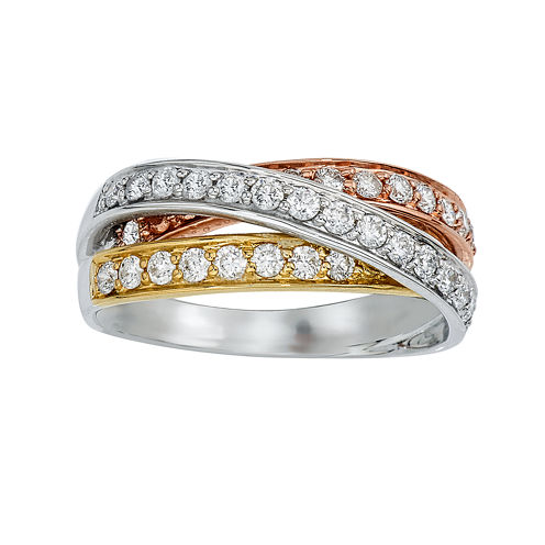 3/4 CT. T.W. Diamond 10K Tricolor Gold Crossover Ring
