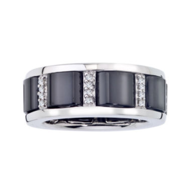 jcpenney.com | 1/6 CT. T.W. Diamond Black Ceramic and Sterling Silver Buckle Band