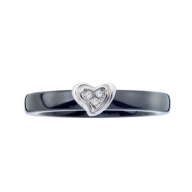 jcpenney.com | Diamond-Accent Black Ceramic and Sterling Silver Heart Promise Ring