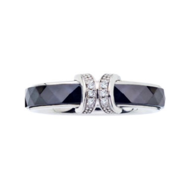jcpenney.com | Diamond-Accent Faceted Black Ceramic and Sterling Silver Promise Ring
