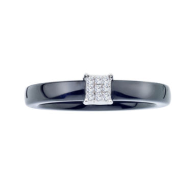 jcpenney.com | Diamond-Accent Black Ceramic and Sterling Silver Square Promise Ring