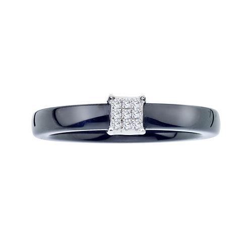 Diamond-Accent Black Ceramic and Sterling Silver Square Promise Ring