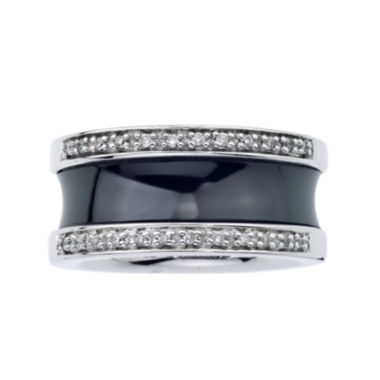 jcpenney.com | 1/6 CT. T.W. Diamond Black Ceramic Concave Band