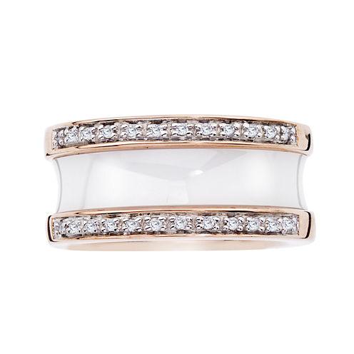 1/6 CT. T.W. Diamond White Ceramic Concave Band