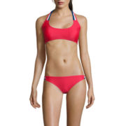 Arizona® Americana Macrame Trim Bralette Swim Top and Americana Macrame Hipster Swim Bottom - Juniors