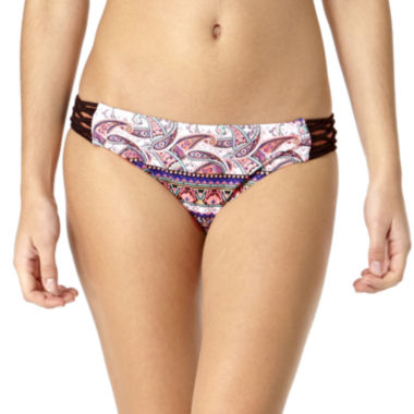 jcpenney.com | Arizona Festival Paisley Macramé Side-Tab Hipster Swim Bottoms - Juniors