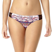 Arizona Festival Paisley Macramé Side-Tab Hipster Swim Bottoms - Juniors