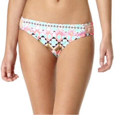 jcpenney.com | Arizona Geo Jazz Crochet Side-Tab Hipster Swim Bottoms - Juniors