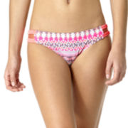 Arizona Tribal Triangle Braided-Strap Side-Tab Hipster Swim Bottoms - Juniors