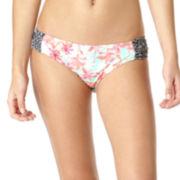 Arizona Palm Springs Side-Tab Hipster Swim Bottoms - Juniors