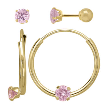 jcpenney.com | Infinite Gold™ Kids 14K Yellow Gold Pink Cubic Zirconia Stud and Hoop 2-pr. Earring Set