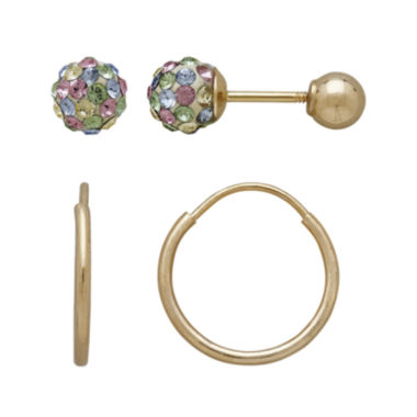 jcpenney.com | Infinite Gold™ Kids 14K Yellow Gold Multicolor Crystal-Accent Stud and Hoop 2-pr. Earring Set
