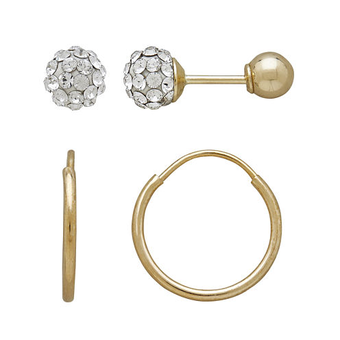 Infinite Gold™ Kids 14K Yellow Gold Crystal-Accent Ball Stud and Hoop 2-pr. Earring Set