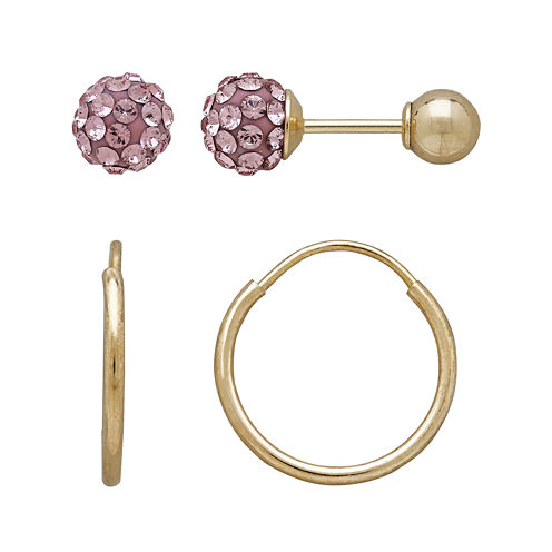 Infinite Gold™ Kids 14K Yellow Gold Pink Crystal-Accent Stud and Hoop 2-pr. Earring Set
