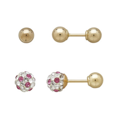 jcpenney.com | Infinite Gold™ Kids 14K Yellow Gold Pink and White Crystal-Accent and Ball Stud 2-pr. Earring Set