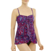 Studio by Christina Mosaic Print Flyaway Tankini Swim Top