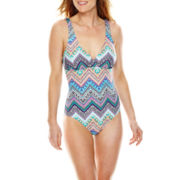 Liz Claiborne® Tribal Chevron Cross Back 1-Pc Swimsuit