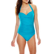 Liz Claiborne® Halter Sweetheart Shirred Maillot 1-Pc Swimsuit