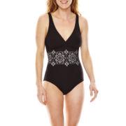 Liz Claiborne® Lasercut Over-the-Shoulder Maillot One-Piece Swimsuit