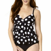St. John's Bay® Dot Print Tiered Tankini Swim Top