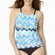 St. John's Bay® Chevron Print High-Neck Tankini Swim Top