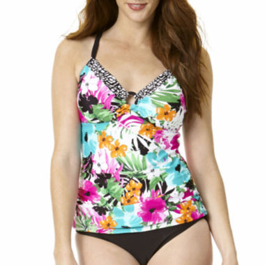 jcpenney.com | St. John's Bay® Floral Ring-Front Tankini Swim Top