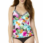 St. John's Bay® Floral Ring-Front Tankini Swim Top