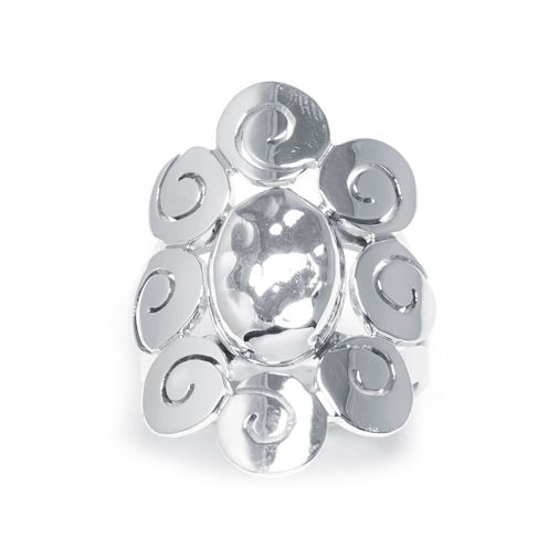 Sterling Silver Oval Scroll Ring
